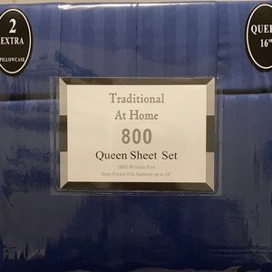 Transitional at Home 6p Queen SheetSet Azure blue